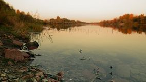 Beautiful golden autumn. evening by the river. Royalty Free Stock Photos