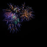 Beautiful golden blue celebration fireworks Stock Image