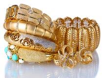 Beautiful golden bracelets Stock Image