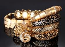 Beautiful golden bracelets Stock Photography