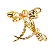 Beautiful golden brooch with precious stones Stock Photos