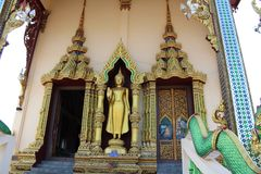Buddha statue in buddhist temple on samui island in thailand royalty free stock photo