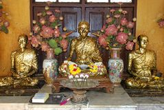 The beautiful Golden Buddha statue in Buddhist temple. Religion Royalty Free Stock Photo