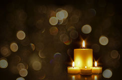 Beautiful Golden Candles With Bokeh Royalty Free Stock Photos