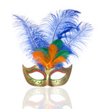 Beautiful golden carnival mask with feathers Stock Images