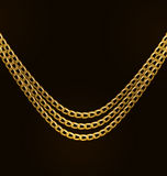 Beautiful Golden Chains Isolated on Black Background Royalty Free Stock Photos