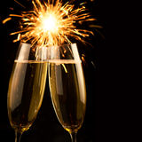Beautiful golden champagne with sparklers - black square Royalty Free Stock Photography