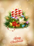 Beautiful golden Christmas background. EPS 10. Beautiful golden Christmas background with candles. EPS 10 vector file included Stock Photo