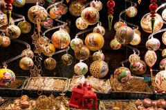 Beautiful golden Christmas ball decorations, luxury hand made designs, Christian European Christmas tree balls stock photo