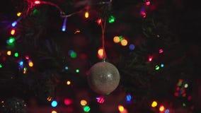 Close-up rotation golden Christmas ball. stock video