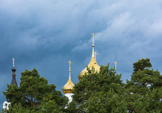 Beautiful Golden Church domes. Royalty Free Stock Images