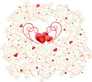 Golden curls branches with hearts Stock Photo