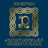 Beautiful golden curly letters and numbers with initial monogram in decorative square frame. Stylish font kit for logo design Stock Photography