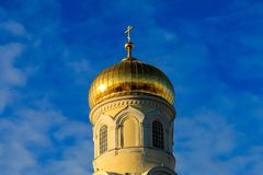 Beautiful golden dome of the Christian Orthodox cathedral  Holy Trinity Cathedral in Dnipro, church, Dnepropetrovsk,. Beautiful golden dome of the Christian stock photos