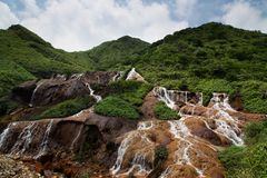 Golden Falls at Jiufen New Taipei City Royalty Free Stock Photo