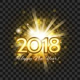 Beautiful golden fireworks with  words Happy New Year 2018! on a. Beautiful golden fireworks with a bright flash of light and the words Happy New Year 2018! on a Royalty Free Stock Image