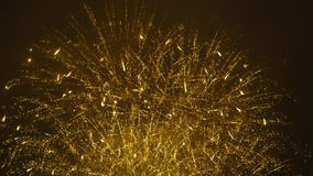 Beautiful Golden Fireworks - slow motion - audio stock video footage