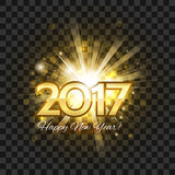 Beautiful golden fireworks with  words Happy New Year 2017! on a Stock Photo
