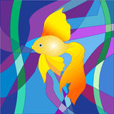 A beautiful Golden fish on a sea abstract background. In the form of a colorful mosaic Royalty Free Illustration