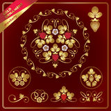 Beautiful golden floral ornaments with strawberries. Floral ornaments with golden strawberries and lives Stock Photo