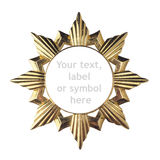 Beautiful golden frame for the text box, trademark, symbol or label. Isolated on white royalty free stock images