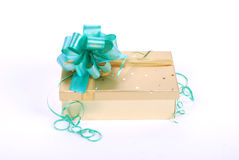 Beautiful golden gift box Royalty Free Stock Photos
