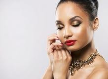 Beautiful golden glamour woman Royalty Free Stock Photos