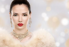 Beautiful golden glamour woman Stock Photography