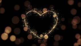 Beautiful Golden Heart Glittering. Looped 3d animation. Sparks Flying Slow. HD 1080 stock video footage