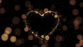Beautiful Golden Heart made of Sparks in Looped animation. Particles Flying Slow. HD 1080 stock illustration