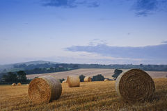 Beautiful golden hour hay bales sunset landscape Royalty Free Stock Photos