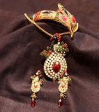 Beautiful Golden Indian necklace in black background Stock Images