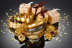 Beautiful golden jewelry Stock Photos