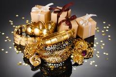 Beautiful golden jewelry stock photos