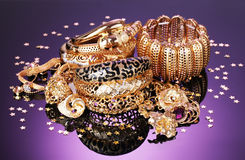 Beautiful golden jewelry Stock Photography