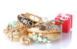 Beautiful golden jewelry and gift box Stock Images