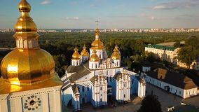 Beautiful Golden Kiev Ukraine St. Michael`s Golden-Domed Monastery. View from above. aerial video footage. Landscape stock video