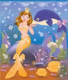 Beautiful golden mermaid girl and dolphin. Vector illustration Stock Images