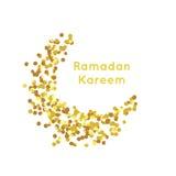 Beautiful Golden Moon , Ramadan Kareem greeting, gold background Stock Images