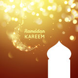 Beautiful golden moon, Ramadan Kareem greeting on gold bokeh background Royalty Free Stock Photo