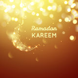 Beautiful golden moon, Ramadan Kareem greeting on gold bokeh background Stock Photo