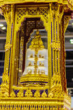 Beautiful golden movable throne contained the Buddha relics ensh Royalty Free Stock Image