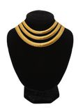 Beautiful golden necklace on mannequin isolated on white Royalty Free Stock Image