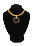 Beautiful golden necklace on mannequin isolated on white Royalty Free Stock Photos