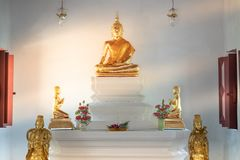 Beautiful of golden old Buddha statue in church at  Wat Lom Maha. Chai Chumphon, Rayong, Thailand Royalty Free Stock Images