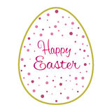 Beautiful golden outline easter egg with pink dots Royalty Free Stock Photo