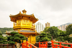 Beautiful Golden Pagoda Chinese style architecture in Nan Lian G Royalty Free Stock Photos