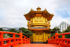 Beautiful Golden Pagoda Chinese style architecture in Nan Lian G Royalty Free Stock Images