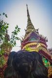 Beautiful golden pagoda with decorative Thai style fine art at public Buddhist Wat Phu Phlan Sung, Nachaluay, Ubon Ratchathani, Th stock image