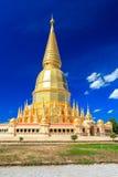 Beautiful golden pagoda under deep blue sky Royalty Free Stock Photos